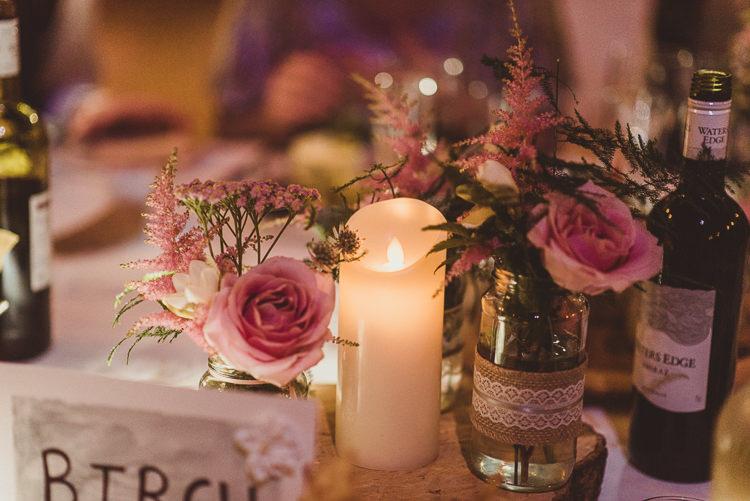 Burlap Hessian Lace Jar Candle Wood Slice Rose Flowers Enchanting Woods Inspired Country Wedding http://alexapenberthy.com/