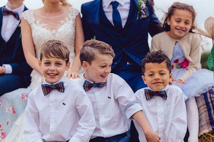 Page Boys Tartan Bow Ties Humanist Hand Made Orchard Garden Wedding http://www.curiousrosephotography.com/
