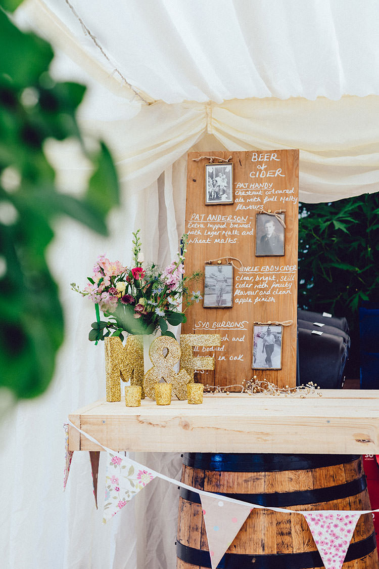 Personalised Barrel Bar Beer Grandparents Glitter Letters Votive Candles Bunting Humanist Hand Made Orchard Garden Wedding http://www.curiousrosephotography.com/