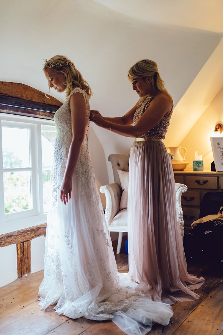 Bride Bridal Maggie Sottero Dress Gown Hair Vine Overlay Pink ASOS Bridesmaid Humanist Hand Made Orchard Garden Wedding http://www.curiousrosephotography.com/