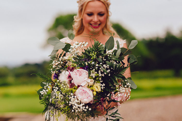 Bride Bridal Bouquet Peonies Gypsophila Foliage Humanist Hand Made Orchard Garden Wedding http://www.curiousrosephotography.com/