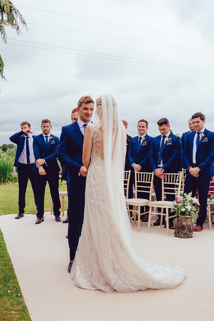 Bride Bridal Maggie Sottero Dress Gown Hair Vine Veil Embellishment Embroidery Faux Backless French Connection Groom Suit Humanist Hand Made Orchard Garden Wedding http://www.curiousrosephotography.com/