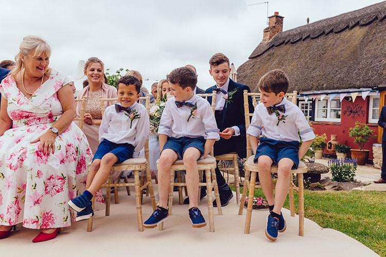 Page Boys Bow Ties Tartan Shorts Blue Humanist Hand Made Orchard Garden Wedding http://www.curiousrosephotography.com/