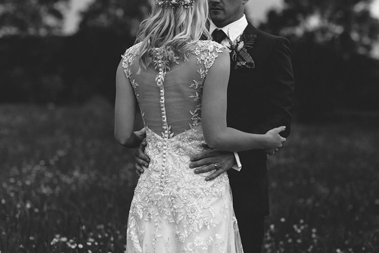 Bride Bridal Maggie Sottero Dress Gown Button Back Embellishment Embroidery Hair Vine French Connection Groom Suit Humanist Hand Made Orchard Garden Wedding http://www.curiousrosephotography.com/
