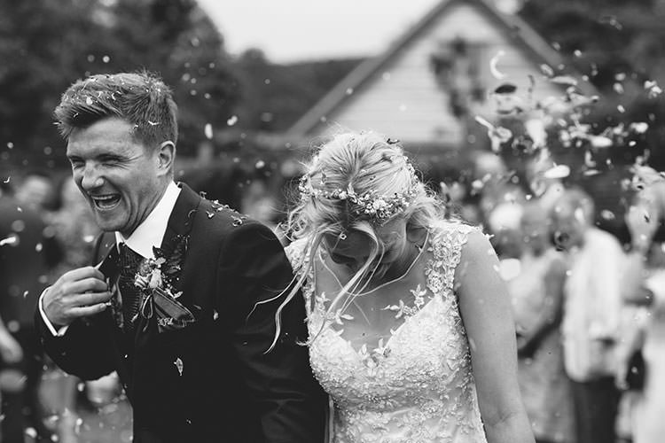 Confetti Shot Bride Bridal Maggie Sottero Dress Gown Hair Vine French Connection Groom Suit Humanist Hand Made Orchard Garden Wedding http://www.curiousrosephotography.com/