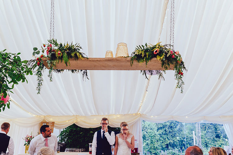Mr & Mrs Reception Game Couple Hanging Floral Plank Arrangement Foliage Humanist Hand Made Orchard Garden Wedding http://www.curiousrosephotography.com/