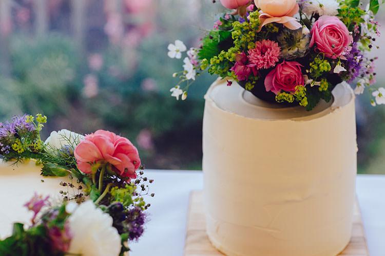 Buttercream Cake Flowers Floral Peonies Single Tier Humanist Hand Made Orchard Garden Wedding http://www.curiousrosephotography.com/