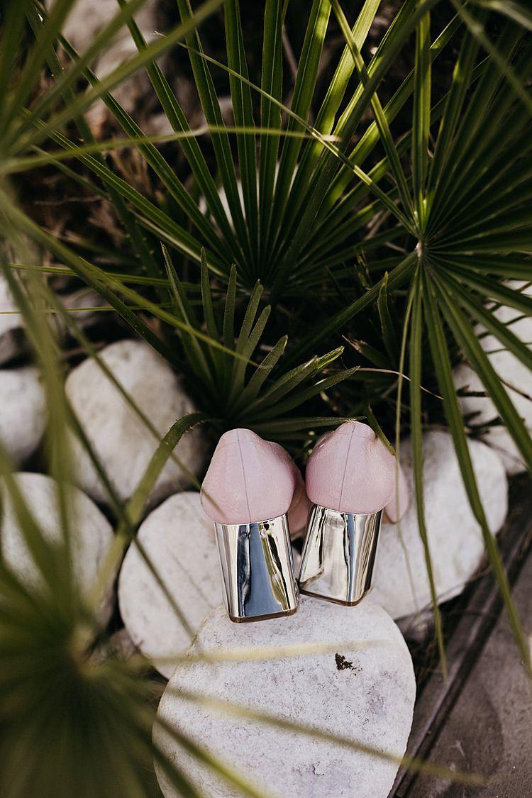 Bride Pink Shoes Palm Whimsical Greenery Wedding Ideas Sea http://eglejo.lt/