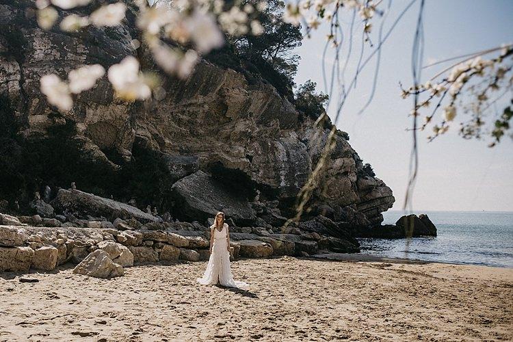 Bride Beach Sea Whimsical Greenery Wedding Ideas Sea http://eglejo.lt/