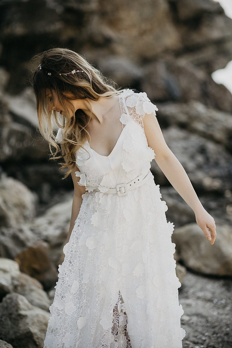 Bride Belt Rocks Beach Whimsical Greenery Wedding Ideas Sea http://eglejo.lt/