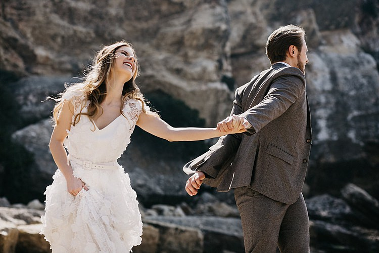 Bride Groom Hand Holding Beach Whimsical Greenery Wedding Ideas Sea http://eglejo.lt/