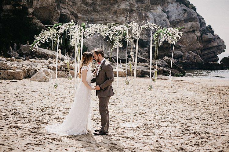 Bride Groom Ribbon Arch Whimsical Greenery Wedding Ideas Sea http://eglejo.lt/