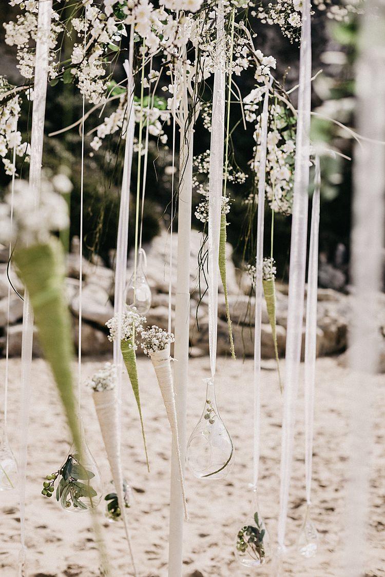 Beach Ribbon Arch Whimsical Greenery Wedding Ideas Sea http://eglejo.lt/