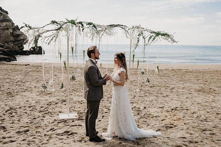 Bride Groom Ceremony Beach Ribbons Whimsical Greenery Wedding Ideas Sea http://eglejo.lt/