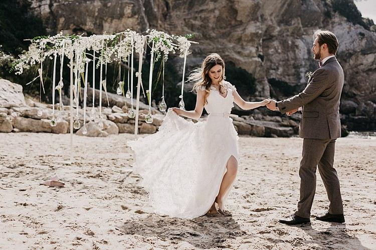 Bride Groom Beach Dancing Whimsical Greenery Wedding Ideas Sea http://eglejo.lt/