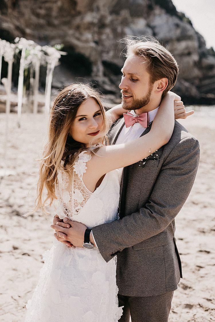 Bride Groom Embrace Beach Whimsical Greenery Wedding Ideas Sea http://eglejo.lt/
