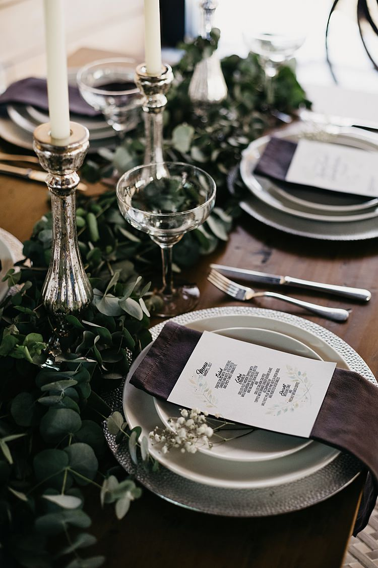 Table Setting Whimsical Greenery Wedding Ideas Sea http://eglejo.lt/
