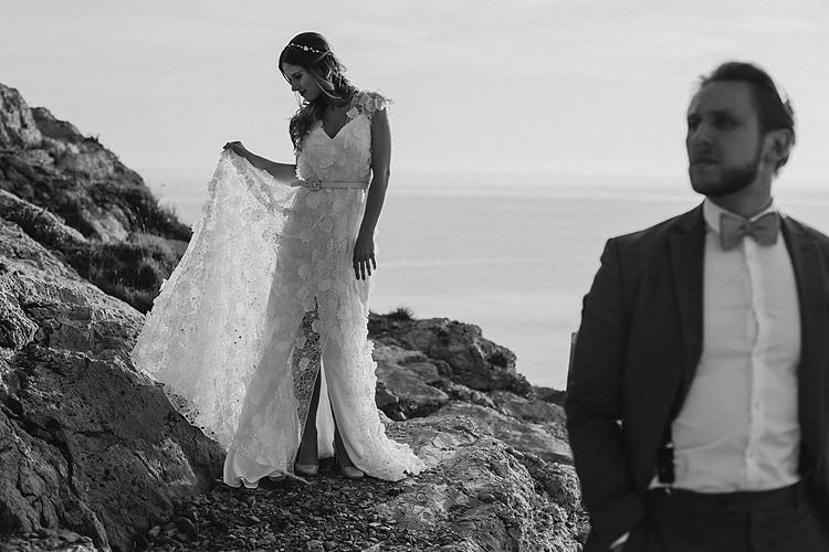 Bride Groom Cliff Whimsical Greenery Wedding Ideas Sea http://eglejo.lt/
