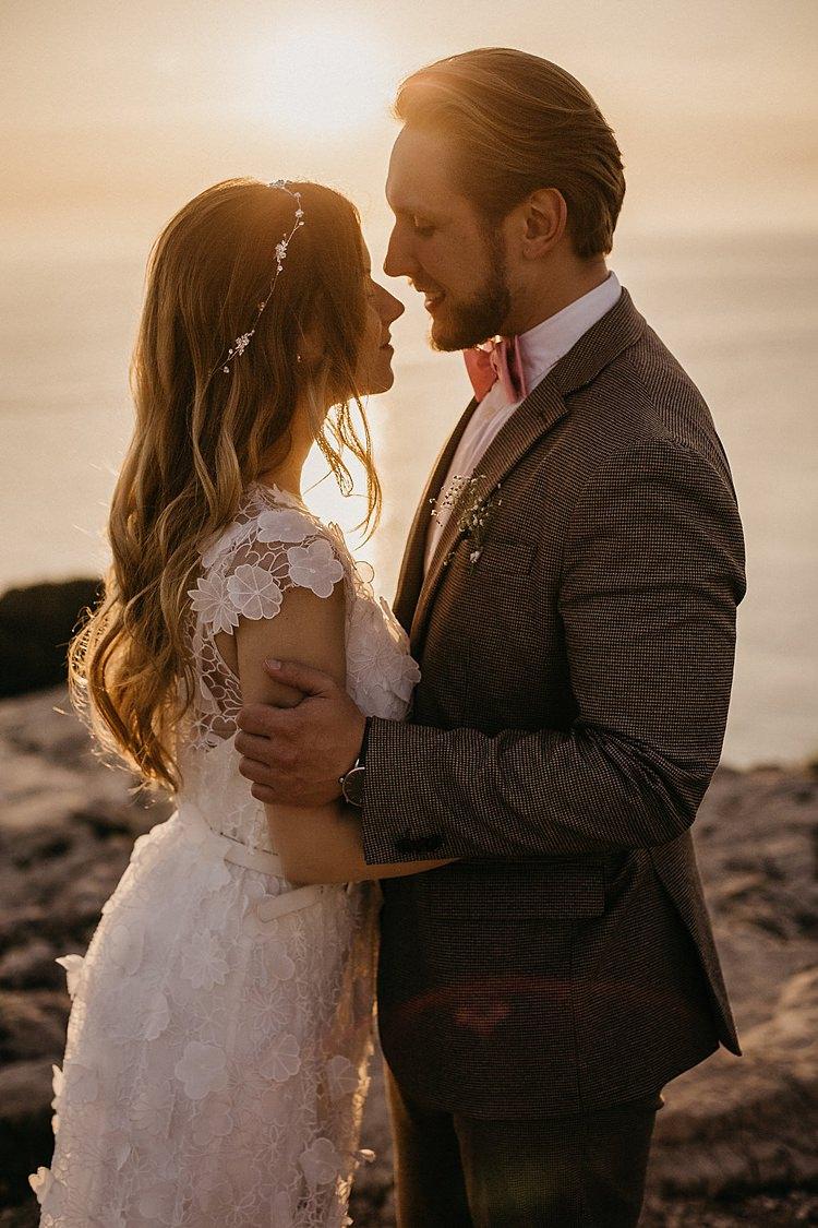 Bride Groom Beach Sunset Whimsical Greenery Wedding Ideas Sea http://eglejo.lt/