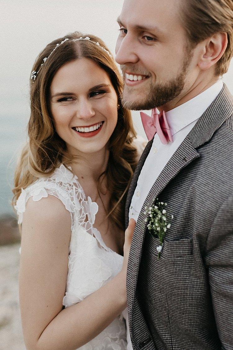 Bride Groom Laugh Whimsical Greenery Wedding Ideas Sea http://eglejo.lt/