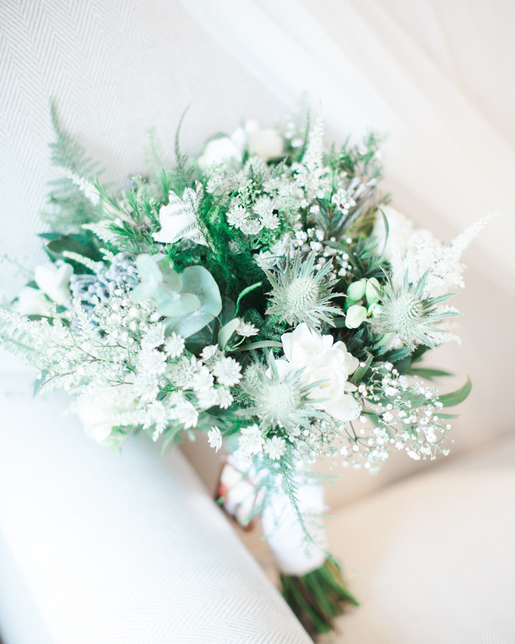 Greenery Foliage Bouquet Thistle Fern Bride Bridal Gypsophila Beautifully Authentic Rustic Country House Wedding https://www.nikkismoments.com/