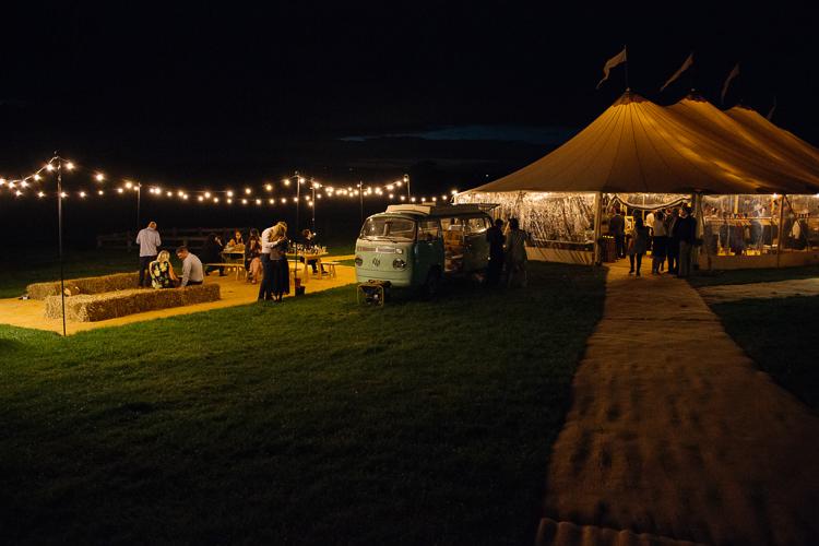 Papakata Sperry Tent Festoon Lighting Hay Bales VW Camper Outdoor Farm Wedding 1970s Dress https://www.magdak.co.uk/