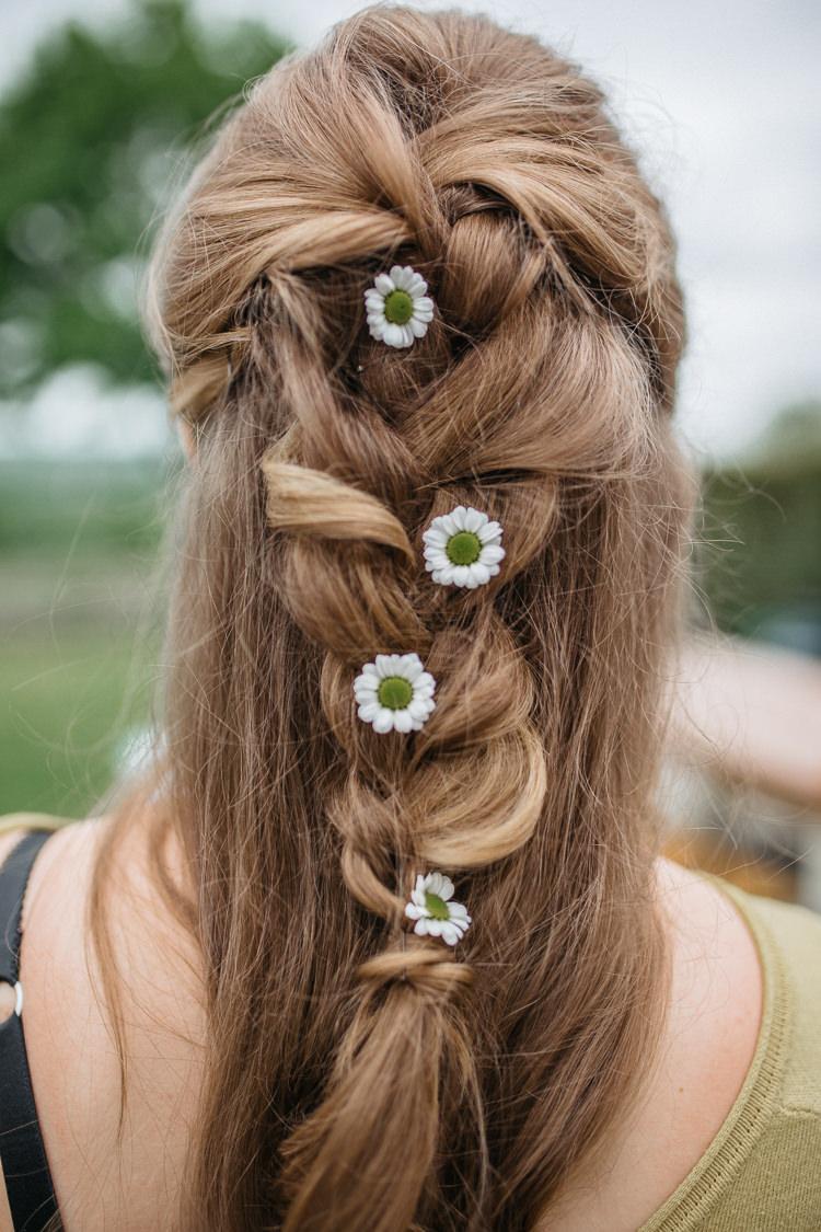 Bride Bridal Flowers Hair Daisies Plait Braid Half Up Down Outdoor Farm Wedding 1970s Dress https://www.magdak.co.uk/