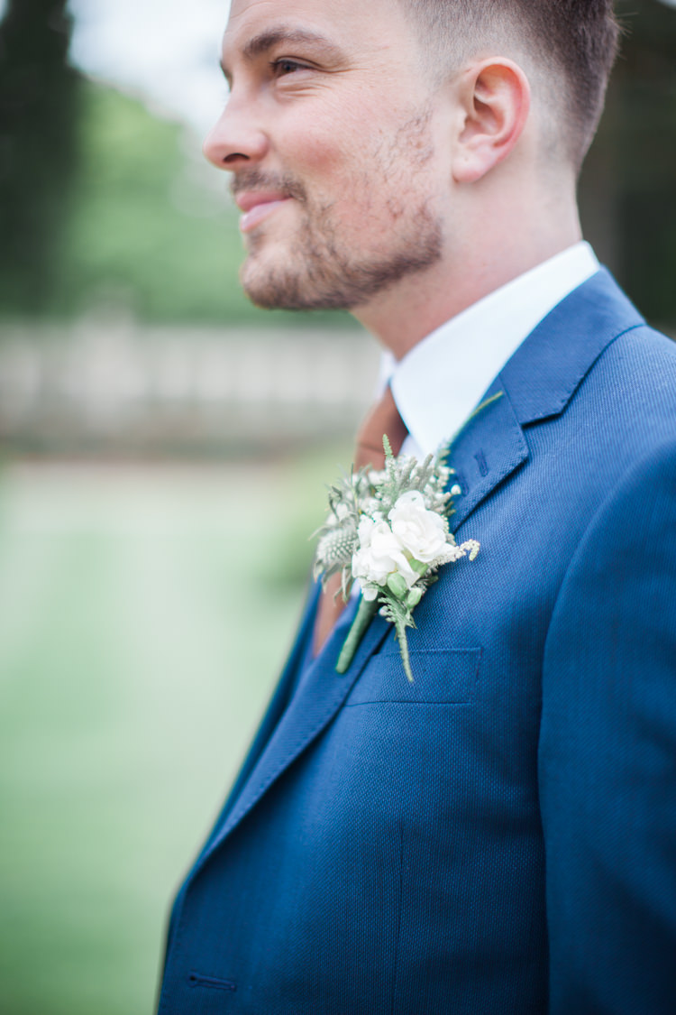 White Green Thistle Buttonhole Groom Beautifully Authentic Rustic Country House Wedding https://www.nikkismoments.com/