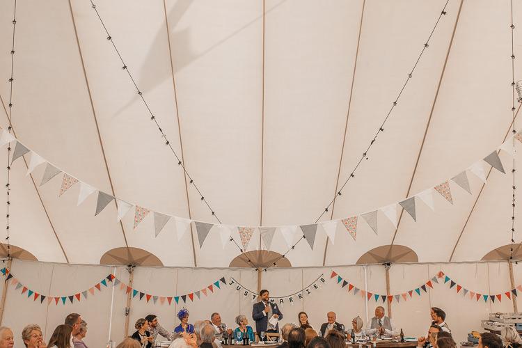 Sperry Tent Bunting Festoon Lighting Outdoor Farm Wedding 1970s Dress https://www.magdak.co.uk/