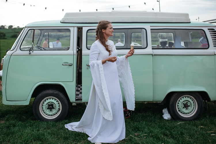 Bride Bridal Dress Gown Vintage Mum's Mother's Bell Sleeves VW Camper Van Outdoor Farm Wedding 1970s Dress https://www.magdak.co.uk/