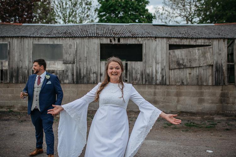 Bride Bridal Dress Gown Vintage Mum's Mother's Bespoke Groom Outdoor Farm Wedding 1970s Dress https://www.magdak.co.uk/