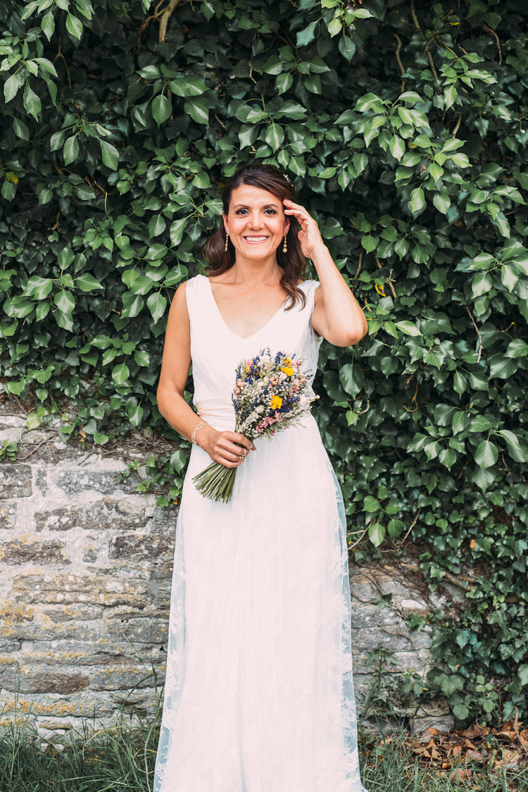 Bride Bridal Charlie Brear Sleeveless Dress Gown Dried Bouquet Fun Laid Back DIY Rustic Marquee Wedding http://www.louisegriffinphotography.com/