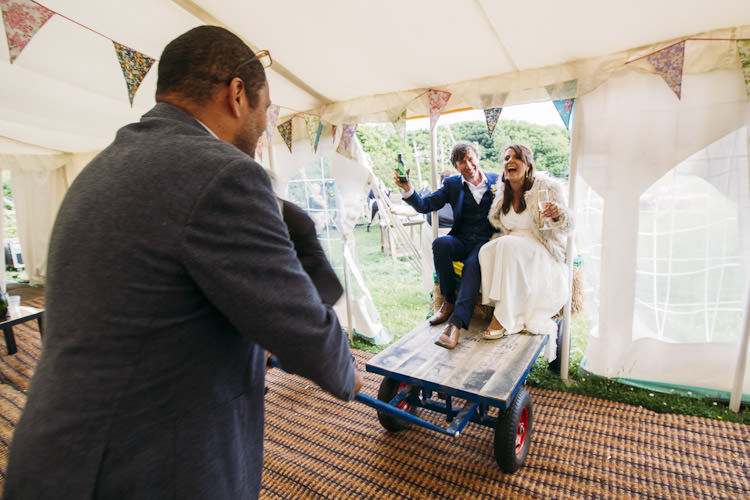 New Mr & Mrs Entrance Flat Bed Trolley Bunting Fun Laid Back DIY Rustic Marquee Wedding http://www.louisegriffinphotography.com/