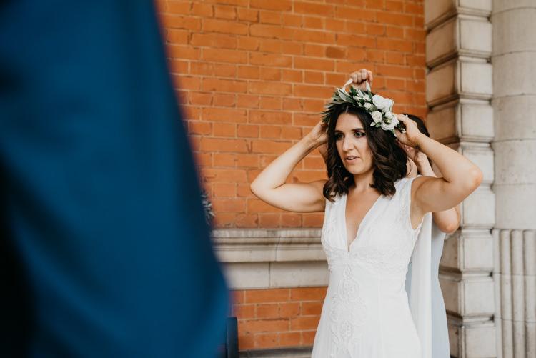 Flower Crown Bride Bridal Boho Fun Loving University Wedding http://andrewbrannanphotography.co.uk/