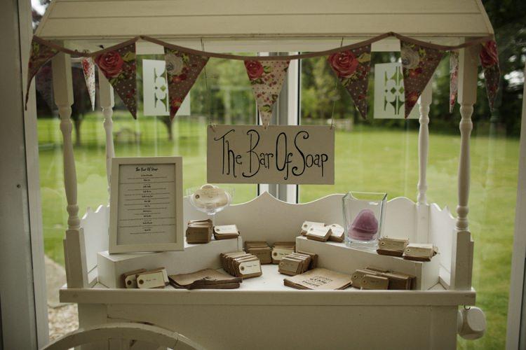 Bar Soap Favours Cart Stand Station Nostalgic Playful Greenery Floral Garden Wedding http://jesspetrie.com/