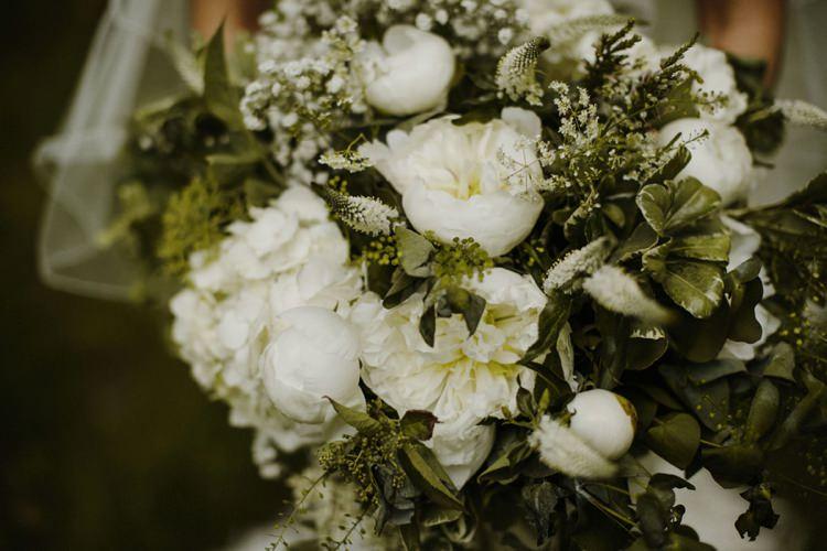 Large Bouquet Bride Bridal Flowers White Foliage Peony Gypsophila Hydrangea Nostalgic Playful Greenery Floral Garden Wedding http://jesspetrie.com/