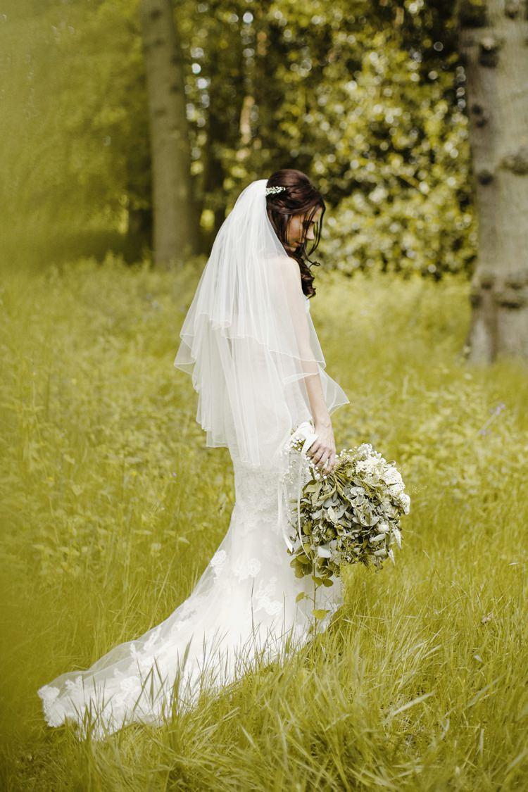 Bride Bridal Dress Gown Train Lace Veil Fishtail Nostalgic Playful Greenery Floral Garden Wedding http://jesspetrie.com/