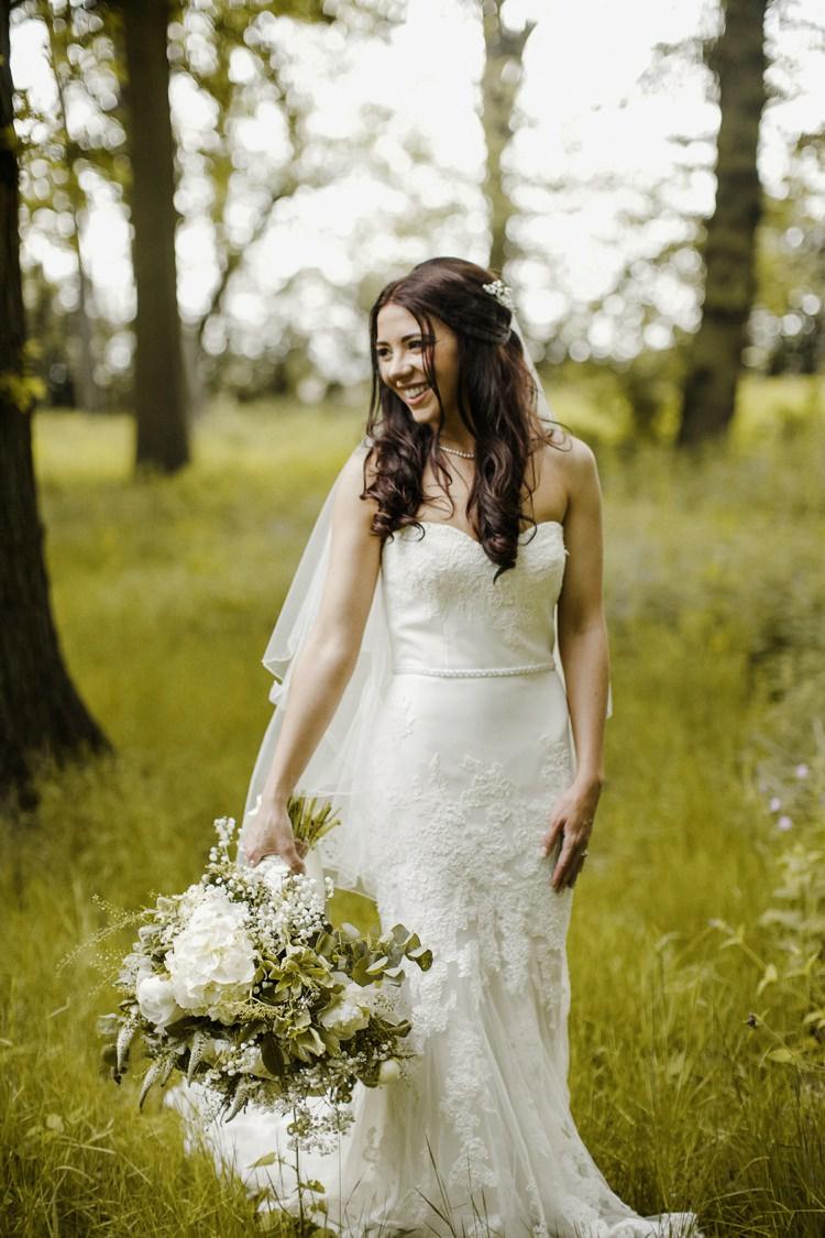 Strapless Lace Dress Gown Bride Bridal Fishtail Nostalgic Playful Greenery Floral Garden Wedding http://jesspetrie.com/