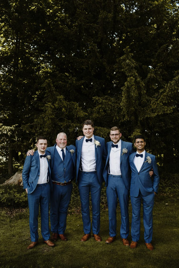 Groom Groomsmen Navy Suits Bow Tie Braces Nostalgic Playful Greenery Floral Garden Wedding http://jesspetrie.com/