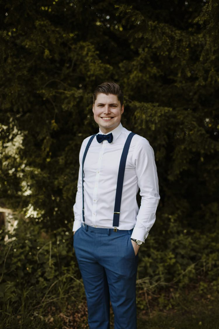 Groom Bow Tie Braces Style Outfit Nostalgic Playful Greenery Floral Garden Wedding http://jesspetrie.com/