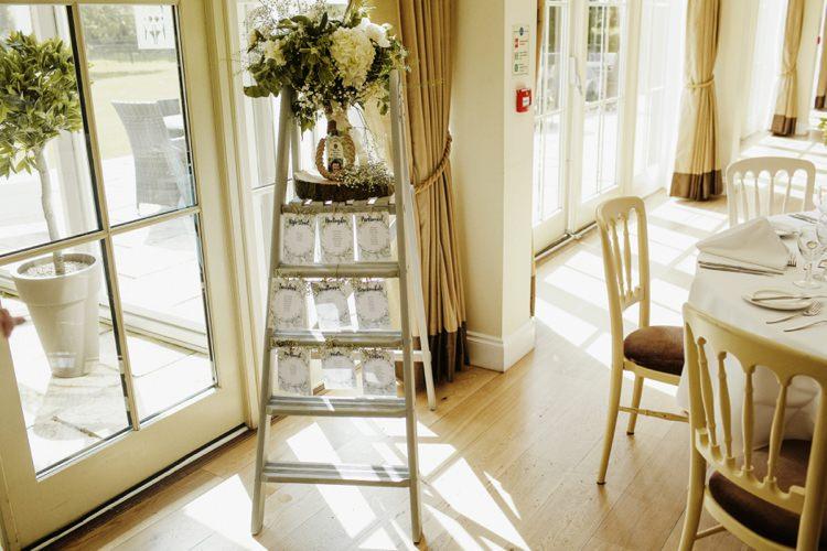 Ladder Seating Plan Table Chart Nostalgic Playful Greenery Floral Garden Wedding http://jesspetrie.com/