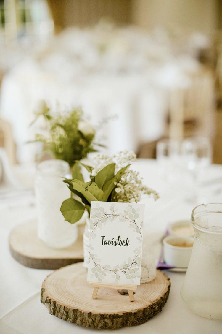 Centrepiece Log Flowers Jar Decor Table Nostalgic Playful Greenery Floral Garden Wedding http://jesspetrie.com/