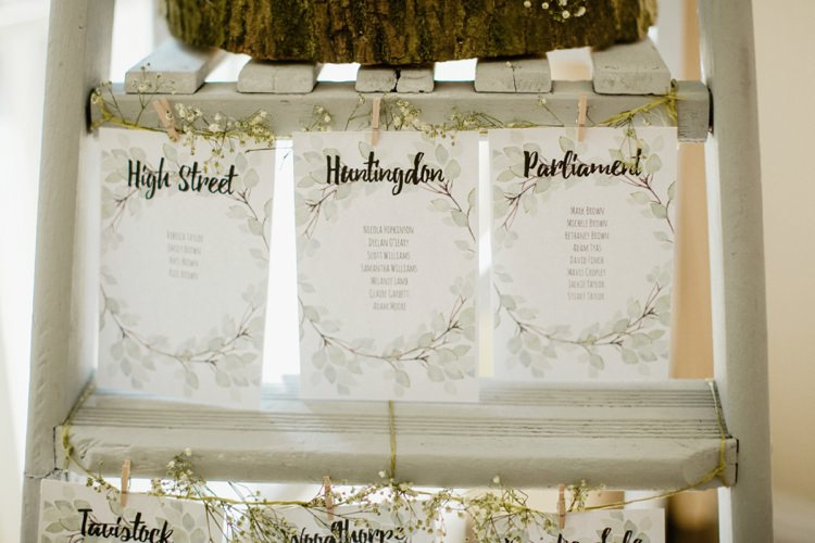 Ladder Seating Plan Table Chart Nostalgic Playful Greenery Floral Garden Wedding http://jesspetrie.com/