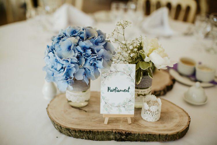 Log Centrepiece Decor Flowers Jar Hydrangea Peony Nostalgic Playful Greenery Floral Garden Wedding http://jesspetrie.com/