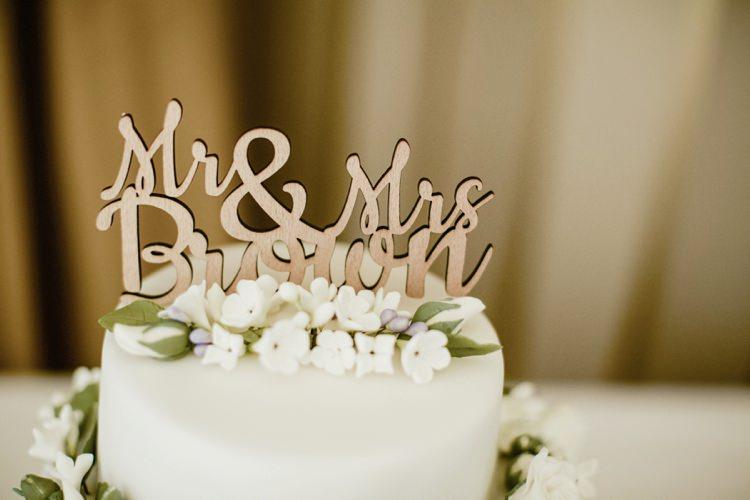 Laser Cut Wooden Personal Cake Topper Nostalgic Playful Greenery Floral Garden Wedding http://jesspetrie.com/