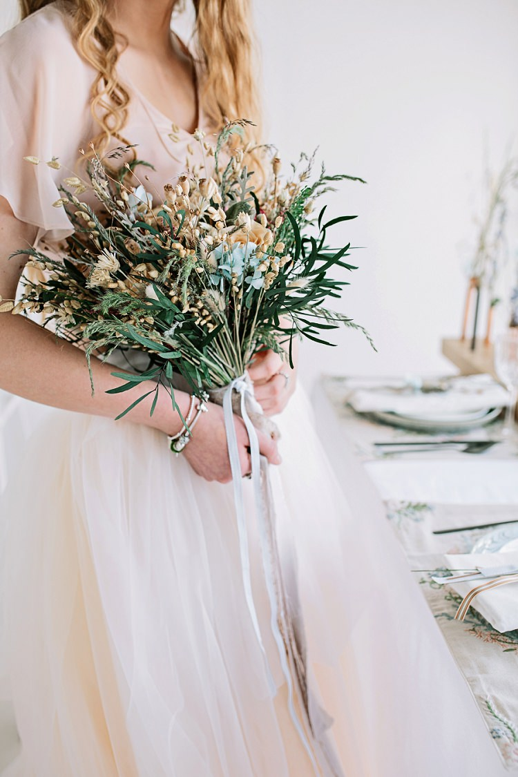 Bouquet Bride Bridal Flowers Dried Seed Feathers Ribbon Bohemian Natural Wedding Ideas http://www.sarahjanesphotography.com/