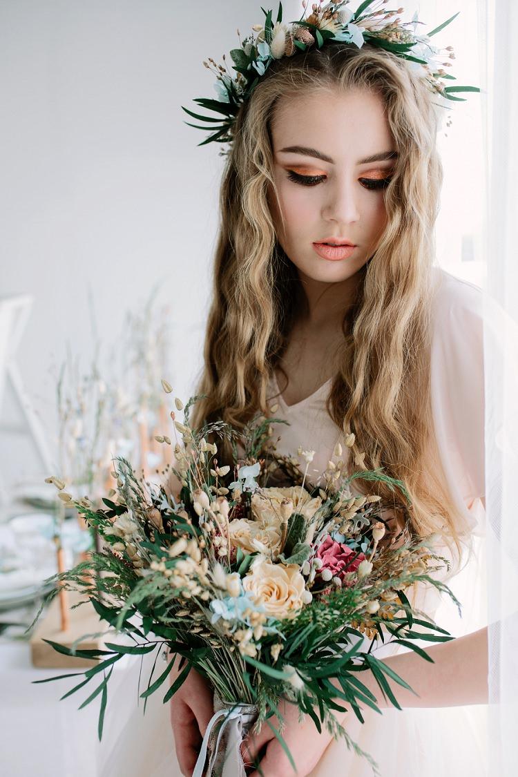 Long Wavy Hair Bride Bridal Style Bohemian Natural Wedding Ideas http://www.sarahjanesphotography.com/