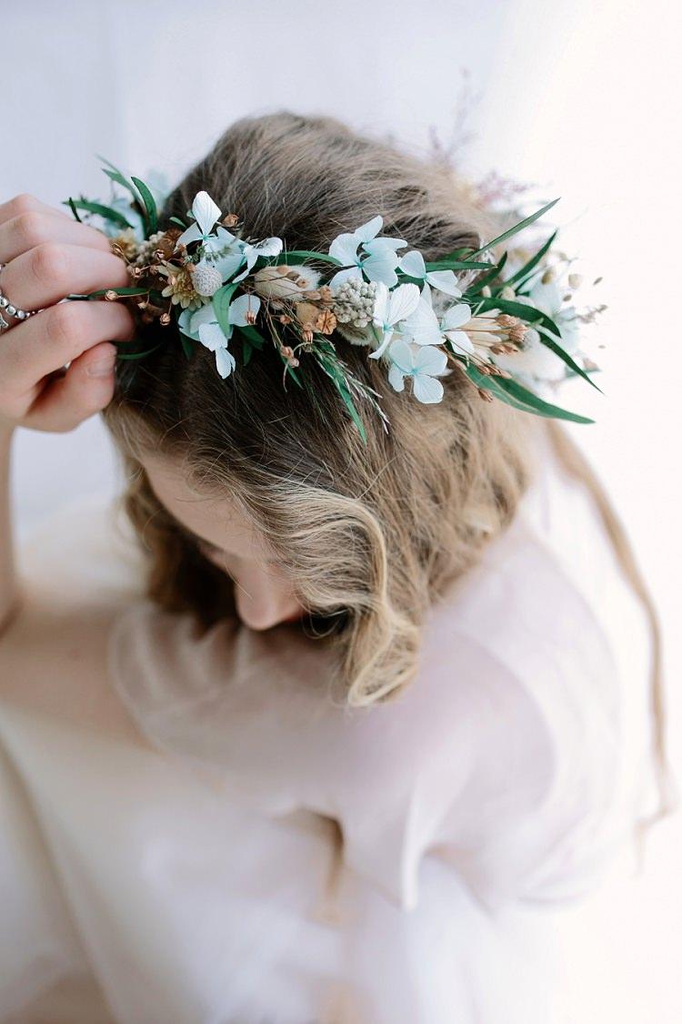 Dried Flower Crown Bride Bridal Seeds Bohemian Natural Wedding Ideas http://www.sarahjanesphotography.com/