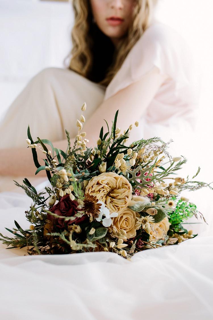 Bouquet Flowers Bride Bridal Dried Seeds Bohemian Natural Wedding Ideas http://www.sarahjanesphotography.com/