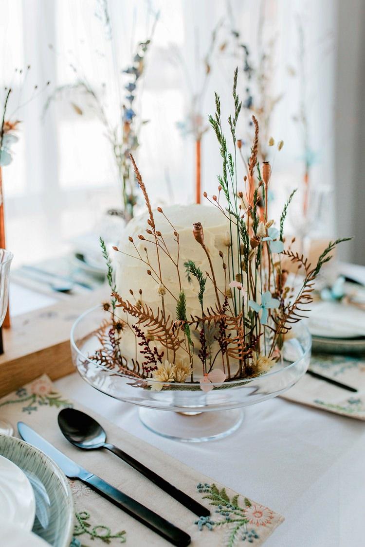 Rustic Buttercream Cake Flowers Dried Seeds Bohemian Natural Wedding Ideas http://www.sarahjanesphotography.com/